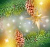 Pine cones on Christmas tree and Christmas light — Stock Photo