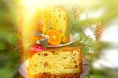 Italian panettone - Christmas cake — Stock Photo