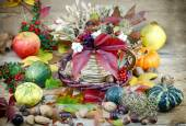 Autumn decoration - autumn harvest — Stock Photo