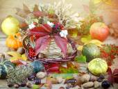 Autumn fruits and vegetables - autumn decoration — Stock Photo