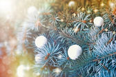 Snowball on christmas tree outdoors — 图库照片