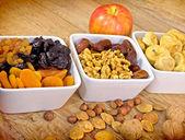 Dried organic fruits - Healthy organic food — Stock Photo
