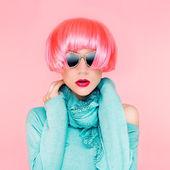 Glamorous fashion lady in pink wig — Stock Photo