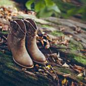 Cowboy fashion style. Boots close-up outdoors — Stock Photo