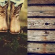 Autumn cowboy style. Cowboy boots in the woods — Stock Photo #53918939