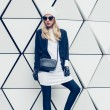 Glamorous blonde on the street. urban fashion — Stock Photo #54627923