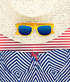 Sunglasses on Hat with Striped Shorts Still Life — Stock fotografie
