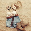 Womens Western Beach Themed Clothing from Above — Stock Photo #55623309