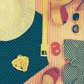 Still Life of Retro Beach Themed Womens Clothing — Stock Photo