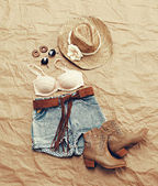 Womens Western Beach Themed Clothing from Above — Stok fotoğraf