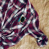 Sunglasses in Pocket of Plaid Shirt — Stock Photo