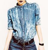 Denim stylish clothes. Glamorous lady fashion trends — Stock Photo