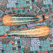 在织物上的迷人西葫芦装饰背景 — 图库照片