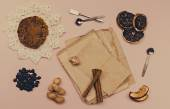 Collage of vintage paper, cinnamon and coffee — Foto de Stock