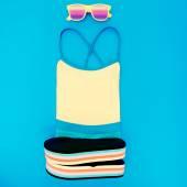 Beach fashion set. Swimsuit, shale, sunglasses — Foto Stock