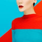 Sensual fashion girl on bright background. Red lipstick trend — Stock Photo