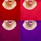 Girl fashion. Collage of colorful lipsticks. trendy colors — Stockfoto