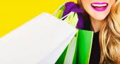 Happy fashion lady with shopping. time sales — Stock Photo