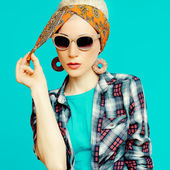 Fashion blond girl in trendy hair accessories. Headscarf. — Stock Photo