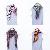 Fashion collection of ladies' scarves. Different combinations co — Stock Photo