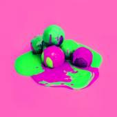 Acid ice cream design. Explosion summer colors. Ice cream melt — Stock Photo