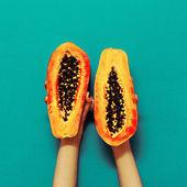Orange color in the trend. Papaya fashion style — Stock Photo
