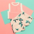 Lady set. Vanilla summer style. Trendy T-shirt and shorts. — Stock Photo #73415981