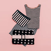 Lady clothing set. Fashionable prints.  polka dots, stripes and  — Stock Photo