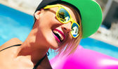 Summer Happy girl in pool party style — Stock Photo