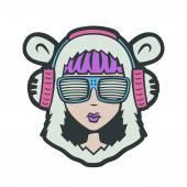 Teddy Bear DJ Girl. Club Dance Style character — Stock Vector