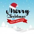 Merry Christmas and Happy New Year typographic background — Stok Vektör #57454827