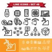 Bitcoin Line icons set 48 — Stock Vector