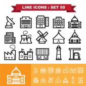 Building and Landmark Line icons set 48 — Stock Vector