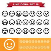 Emotion Line icons set 28 — Vetor de Stock