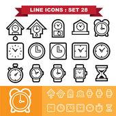 Clock line icons set 28 — Stock Vector