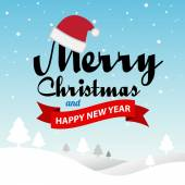 Merry Christmas and Happy New Year typographic background — Stock Vector