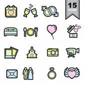 Wedding love Line icons set — Stock Vector