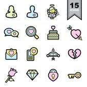 Love line icons set  — Stock Vector