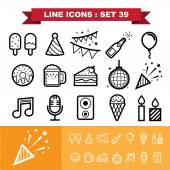 Party ine icons set 39 — Stock Vector