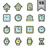 Clock line icons set — Stock Vector