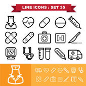 Line icons set 35 — Stock Vector