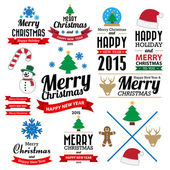Christmas and Happy new year collection of calligraphic and typo — Stock Vector