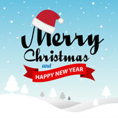 God jul och gott nytt år typografiska bakgrund — Stockvektor