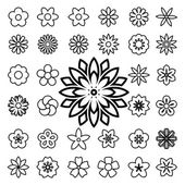 Set of flower line icons — Stock Vector