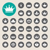 Basic Crown icons set — Vettoriale Stock