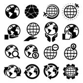 Earth icons set — Stock Vector