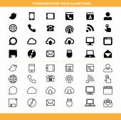 Communication solid and line icons set — Stock Vector