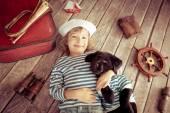 孩子和狗 — 图库照片