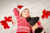 Child and dog in Christmas — Stock fotografie