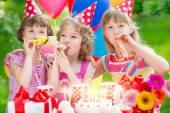 Children celebrating birthday — Stock Photo